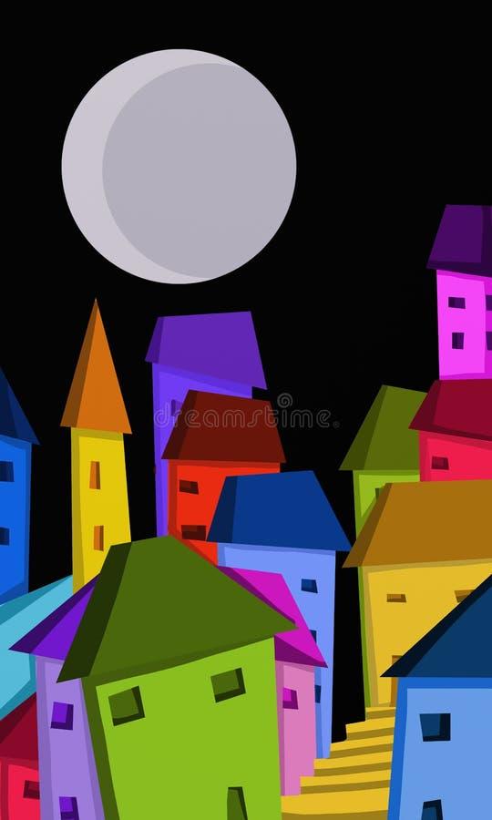 casas coloridas na noite ilustração stock