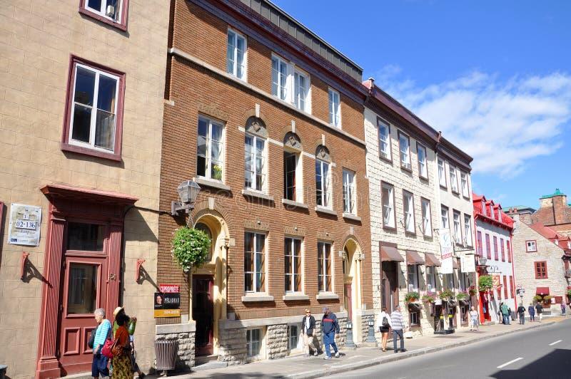 Casas coloridas na rua St Louis, Quebec City fotos de stock royalty free