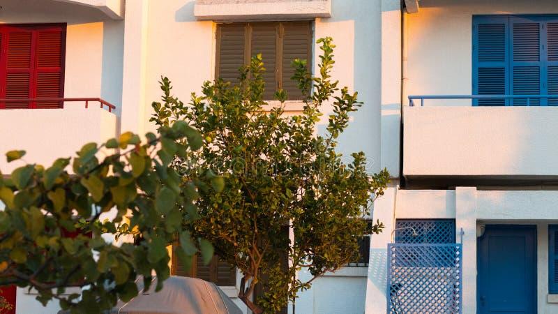 Casas coloridas rodeadas por los árboles de limón imagenes de archivo