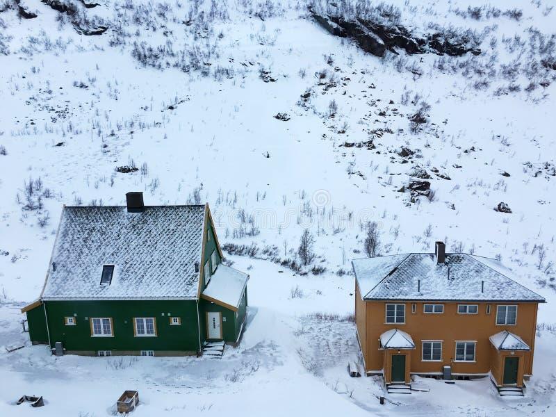 Casas com neve foto de stock
