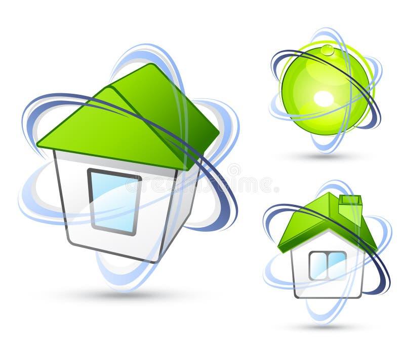 Casas con los anillos de la órbita stock de ilustración