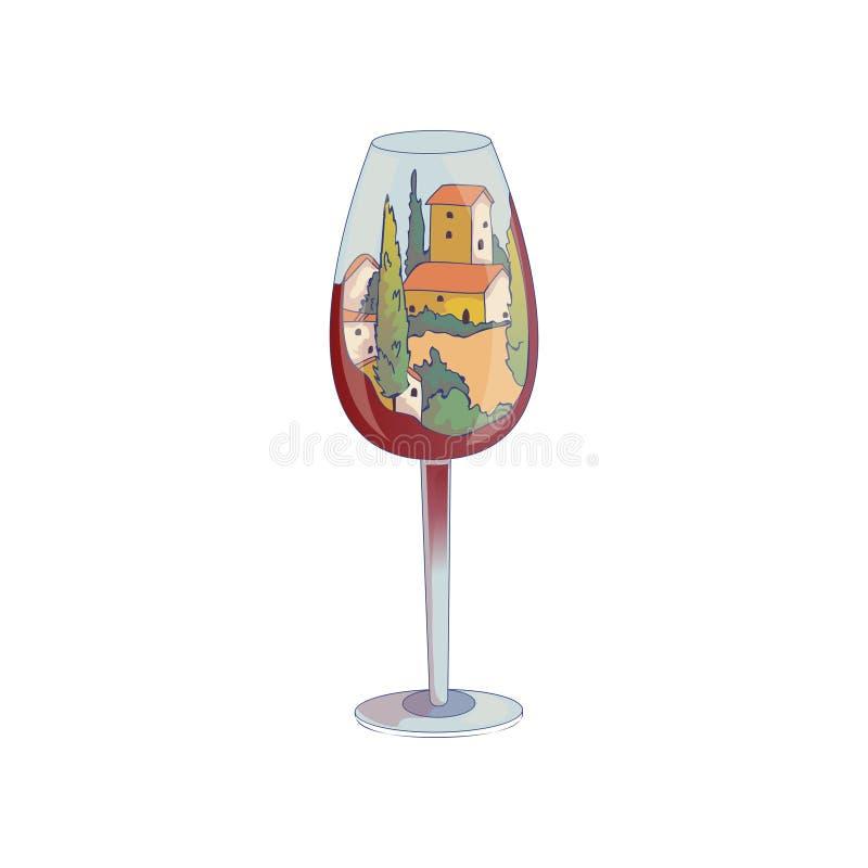 Casas con los tejados rojos dentro de una copa de vino Ilustraci?n del vector en el fondo blanco ilustración del vector