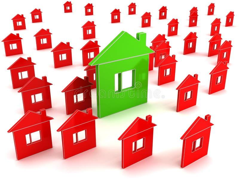 Casas convencionais e casa eficiente da energia ilustração do vetor