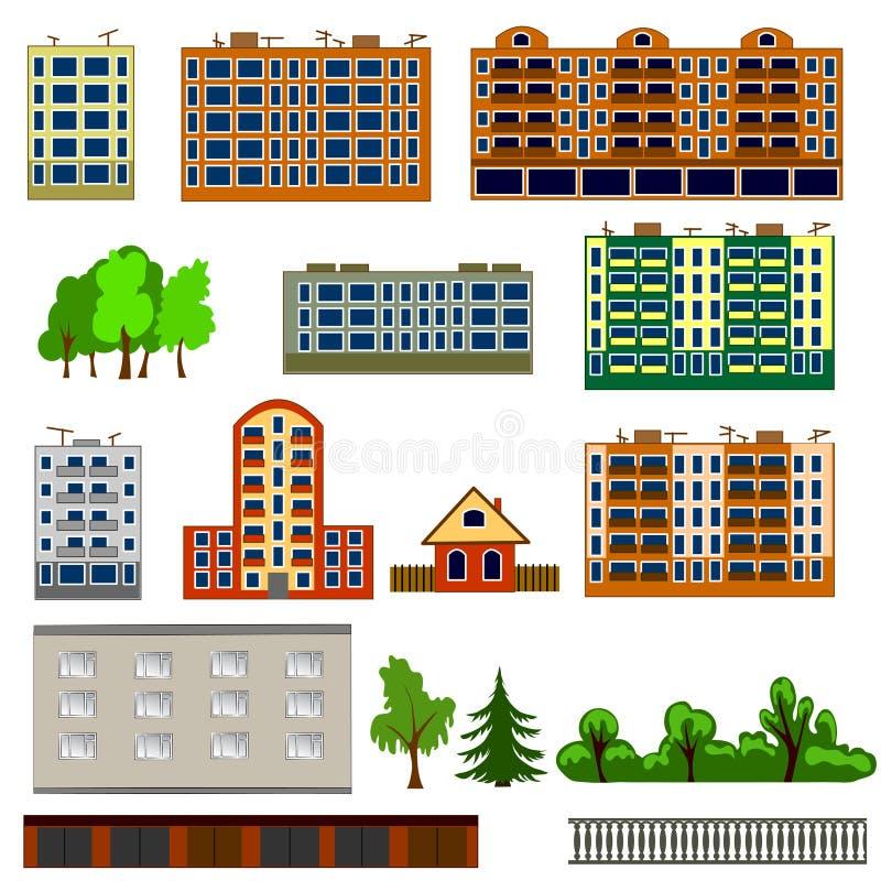 Casas da cidade ajustadas Casas ou coleção colorida, lisa do ícone das construções ilustração stock