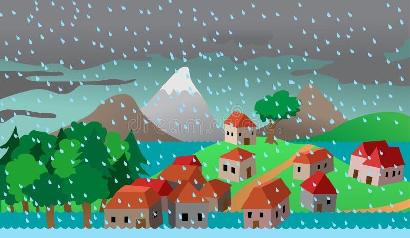 Casas da cidade ou da vila na inundação ilustração do vetor