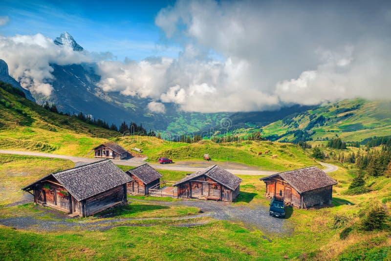 Casas da quinta e terra de madeira alpinas da montanha, Grindelwald, Bernese Oberland, Suíça imagens de stock