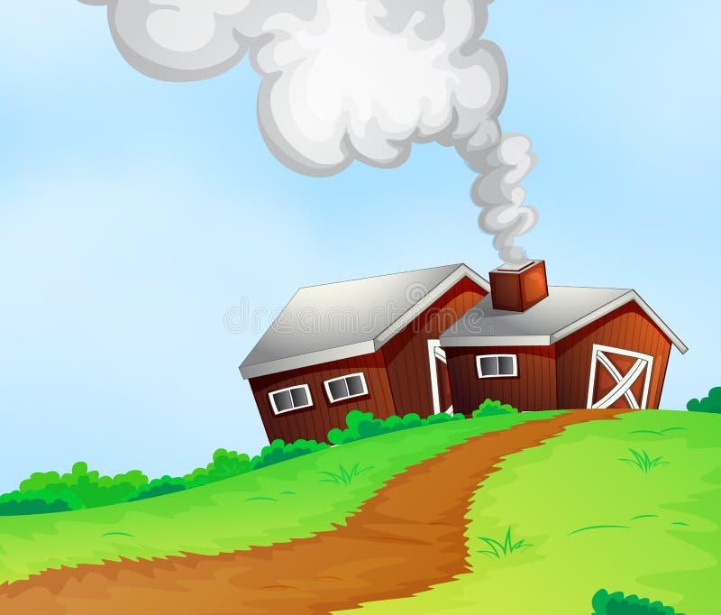 Casas da quinta no monte ilustração do vetor