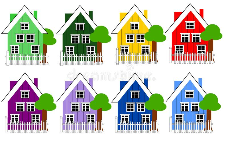 Casas danesas en diversas variaciones del color libre illustration