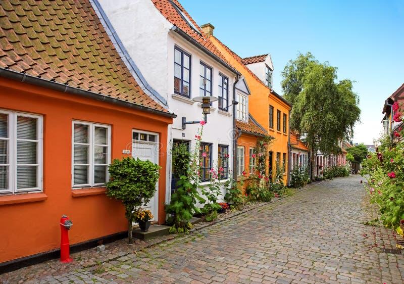 Casas danesas viejas foto de archivo libre de regalías