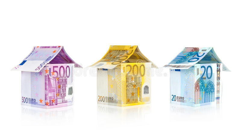 Casas das euro- contas imagem de stock royalty free