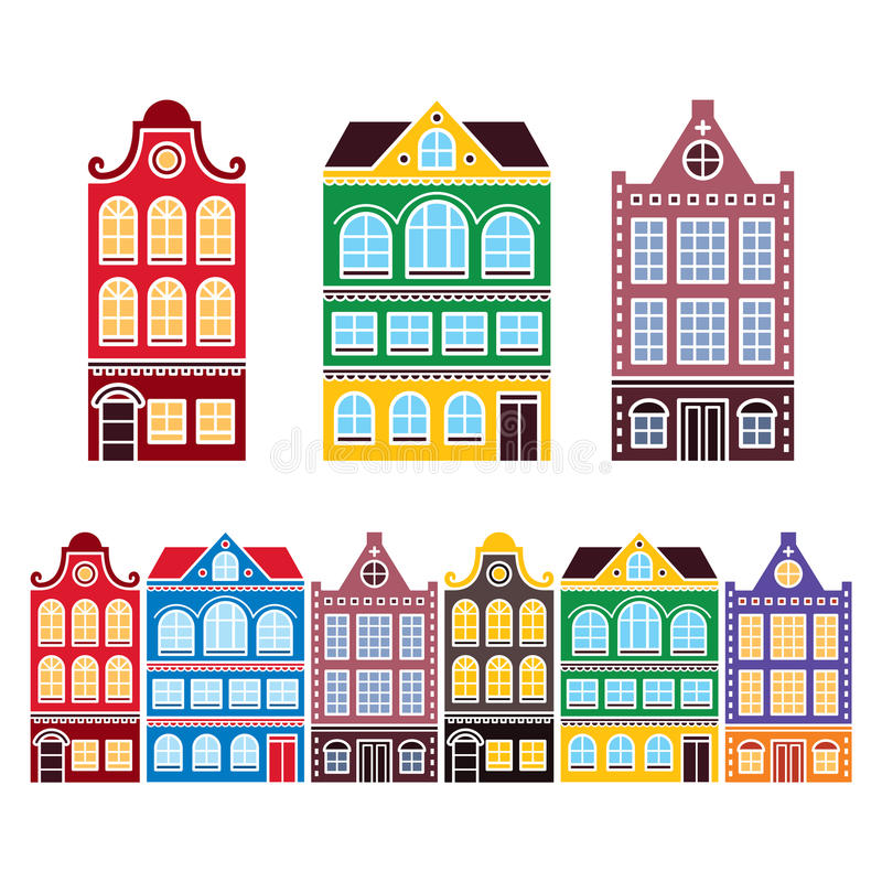 Casas de Amsterdam, edificios holandeses, iconos del archictecture de Holanda o de Países Bajos libre illustration