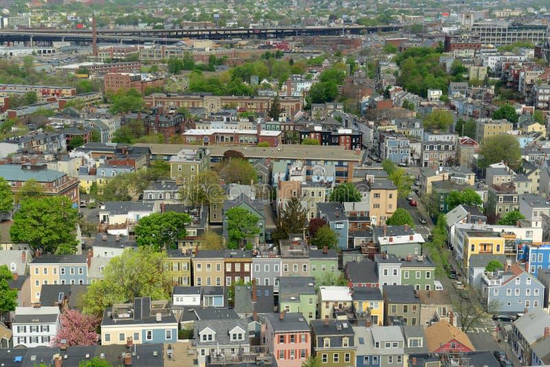 Casas de Boston Charlestown, Massachusetts, los E.E.U.U. fotos de archivo