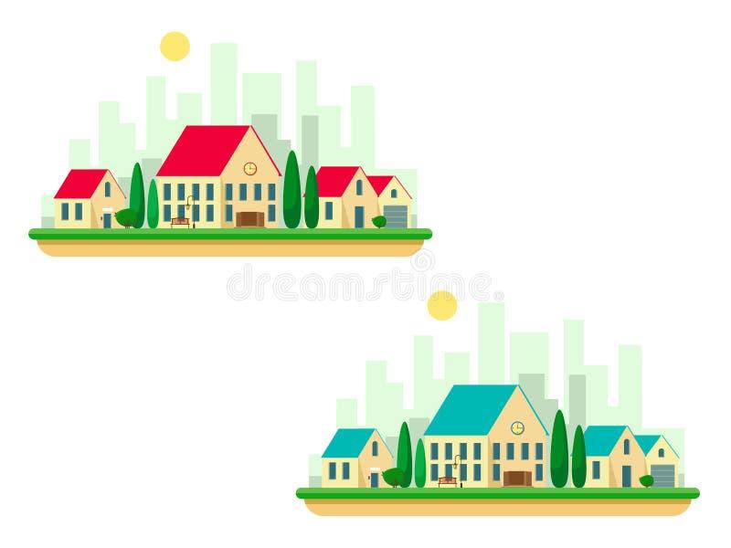 Casas de campo ajustadas com uma escola e árvores com a silhueta da cidade no fundo Ajuste com os telhados vermelhos e de turques ilustração royalty free