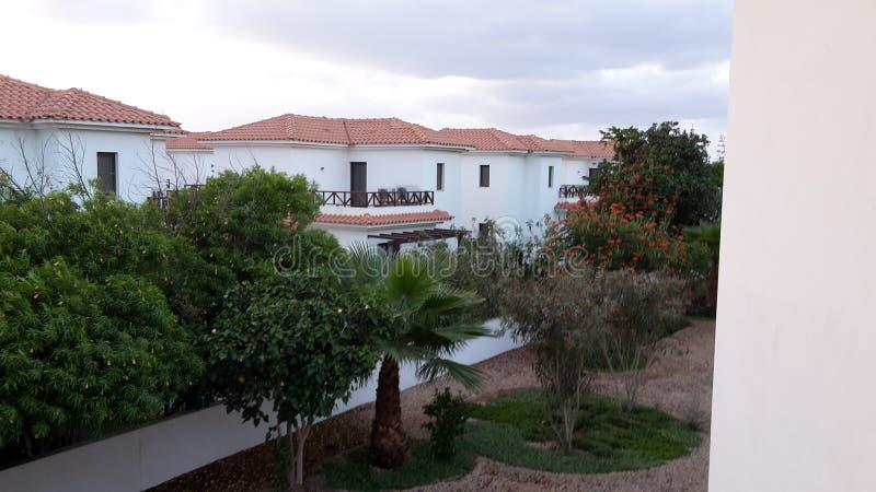 Casas de campo brancas em Cabo Verde fotos de stock royalty free