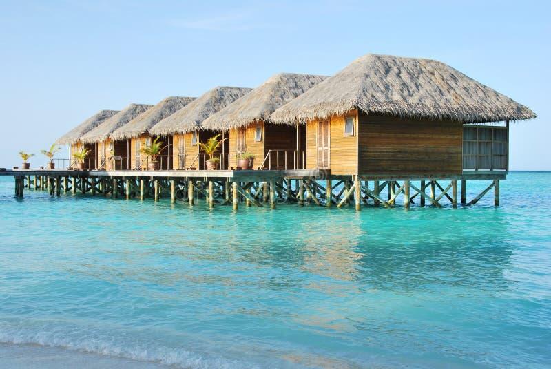 Casas de campo da água em Maldives fotografia de stock royalty free