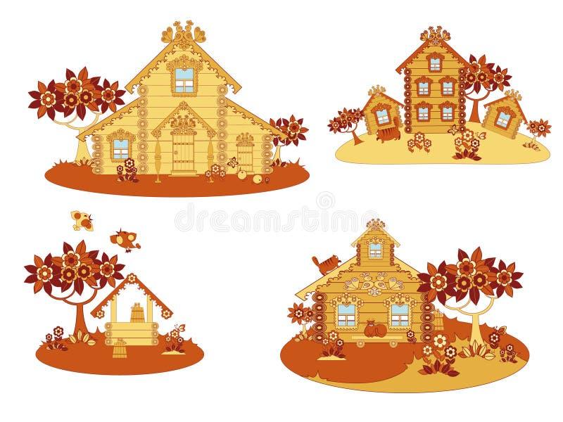 Casas de campo de madeira ilustração royalty free