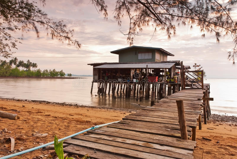 Casas de campo de madeira da praia foto de stock royalty free