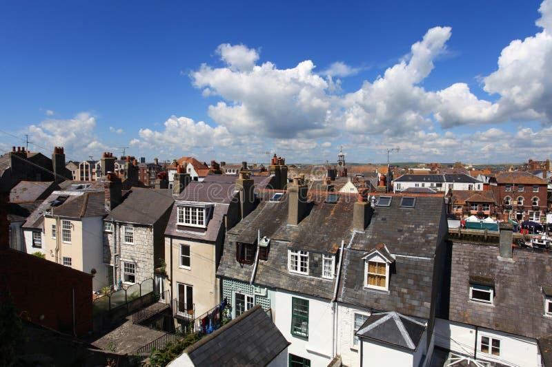 Casas de campo do beira-mar de Inglaterra imagem de stock royalty free