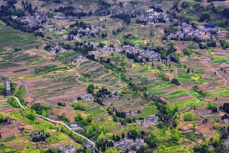 Casas de campo punteadas imagen de archivo