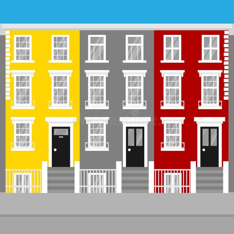 Casas de ciudad colgantes coloridas Notting Hill Londres Señal del icono del viaje de Inglaterra Arquitectura de Reino Unido que  ilustración del vector