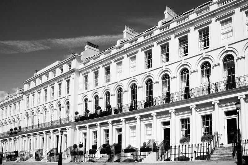 Casas de ciudad colgantes georgianas foto de archivo