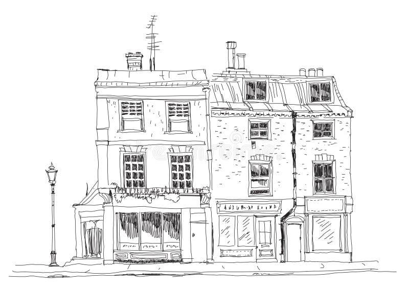 Casas de ciudad inglesas viejas con las tiendas en la planta Edificios famosos de la colección del bosquejo ilustración del vector