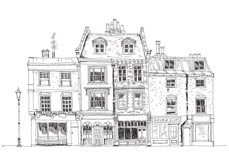 Casas de ciudad inglesas viejas con las tiendas en la planta Edificios famosos de la colección del bosquejo stock de ilustración