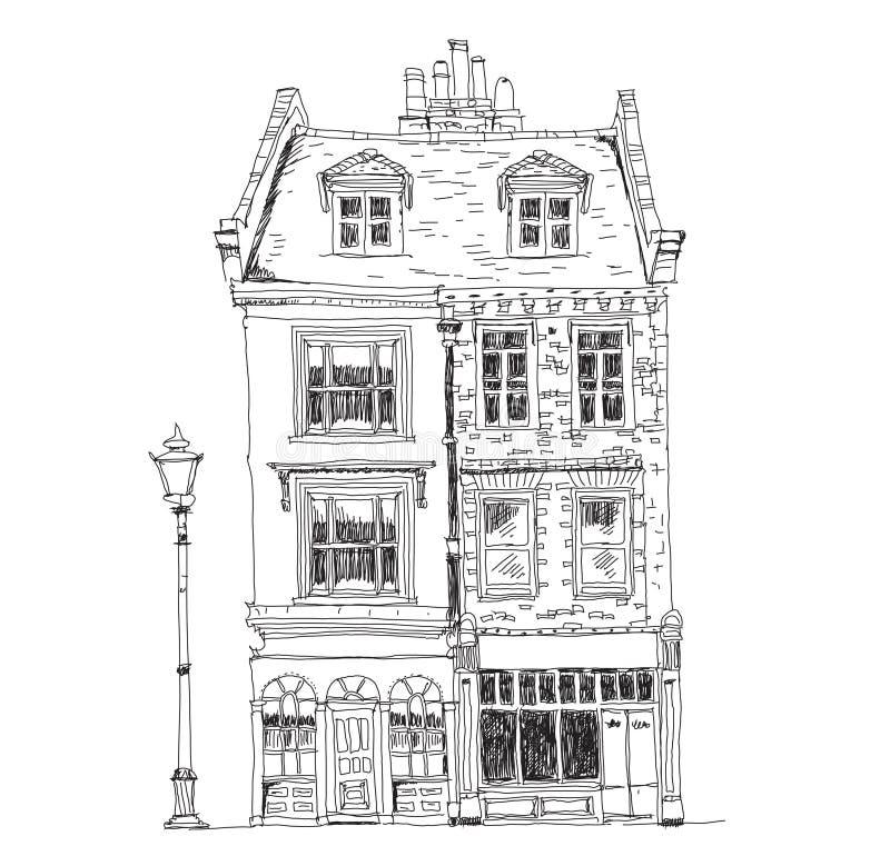 Casas de ciudad inglesas viejas con las tiendas en la planta Edificios famosos de la colección del bosquejo libre illustration