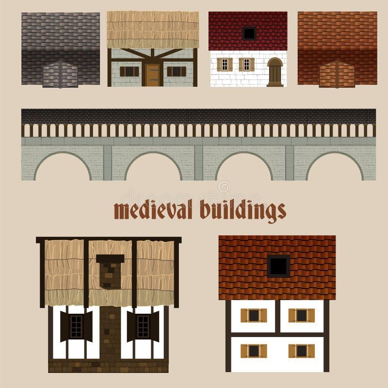 Casas de ciudad medievales libre illustration
