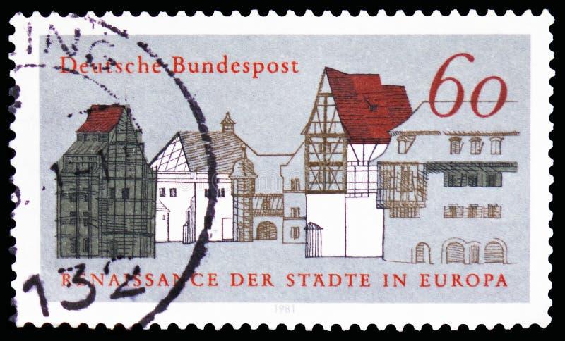 Casas de ciudad viejas, campaña europea para el serie urbano del renacimiento, circa 1981 imágenes de archivo libres de regalías