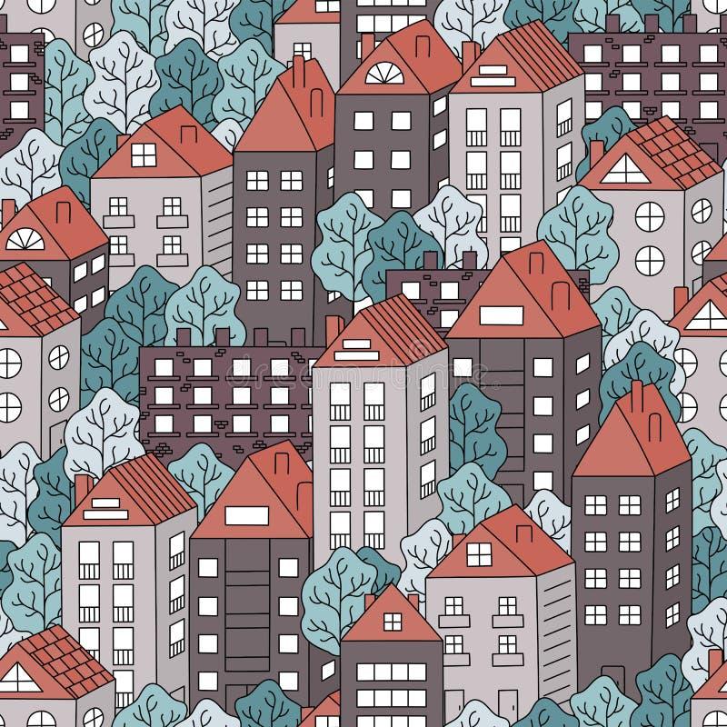 Casas de ciudad y modelo inconsútil colorido de los árboles stock de ilustración
