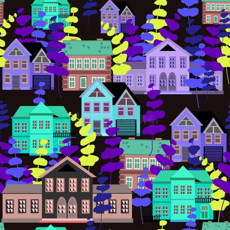 Casas de cores azul e cinza com árvores abstratas de cores violeta e amarela ilustração royalty free