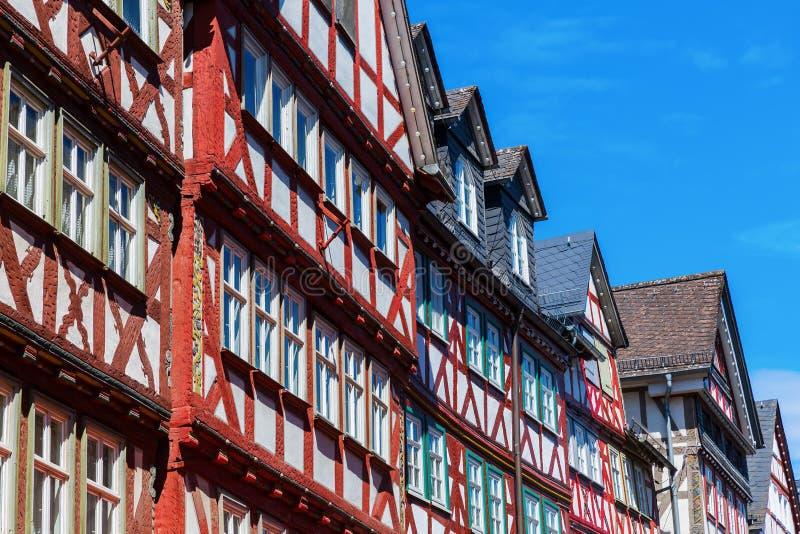 Casas de entramado de madera en Herborn, Alemania imágenes de archivo libres de regalías