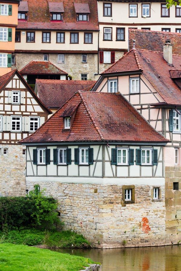 Casas de entramado de madera en Schwabisch Pasillo, Alemania fotografía de archivo libre de regalías