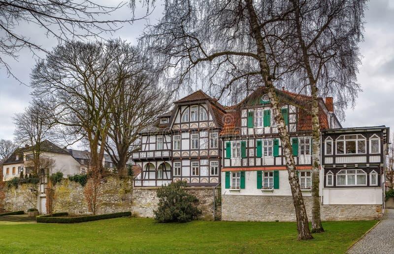 Casas de entramado de madera históricas, Paderborn, Alemania foto de archivo