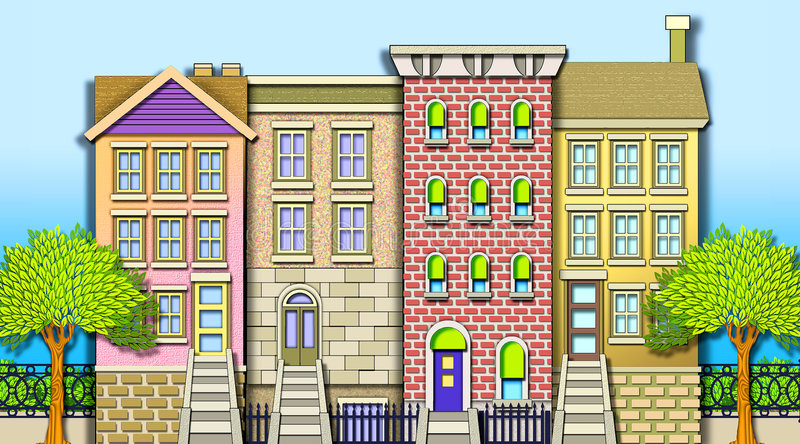 Casas de fila de la vecindad stock de ilustración
