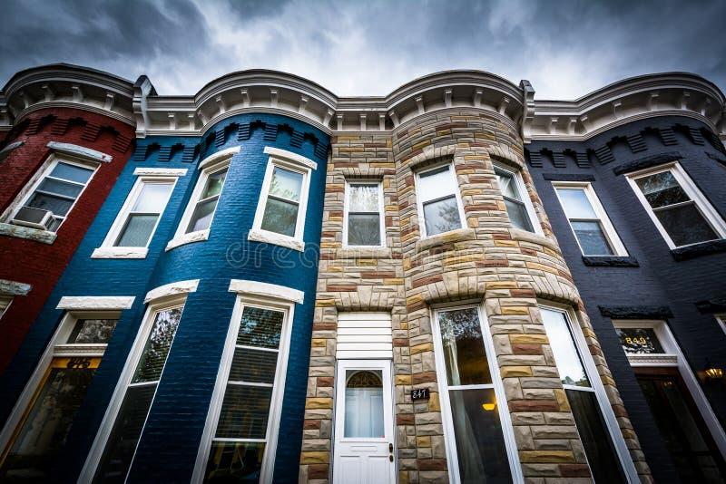 Casas de fila en Hampden, Baltimore, Maryland fotos de archivo libres de regalías
