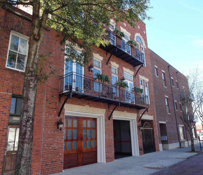 Casas de fileira em Wilmington histórico, North Carolina fotos de stock royalty free