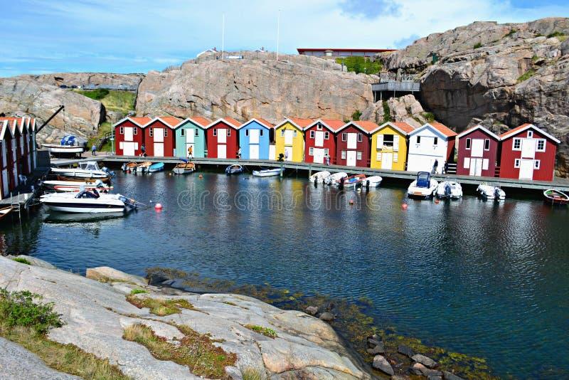 Casas de Fishermens na Suécia fotos de stock