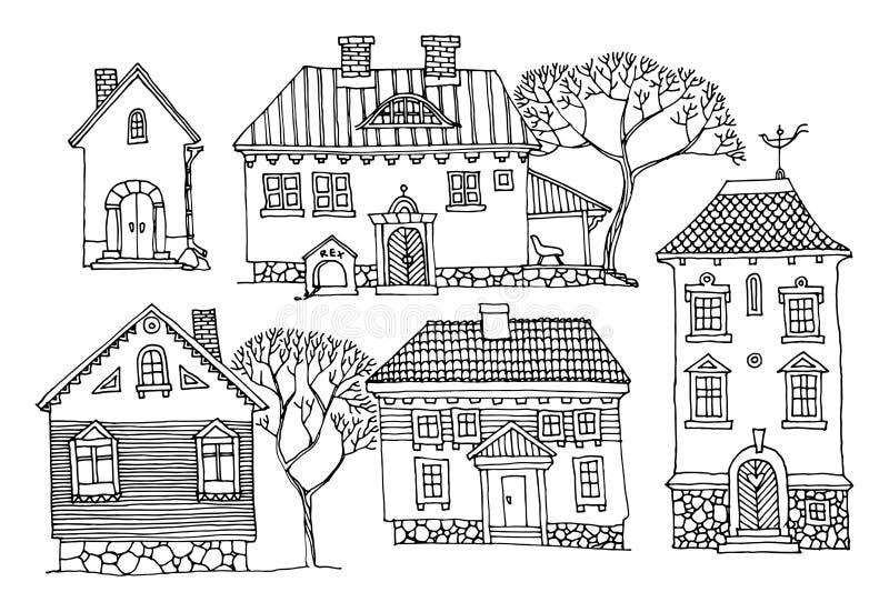 Casas de la historieta stock de ilustración
