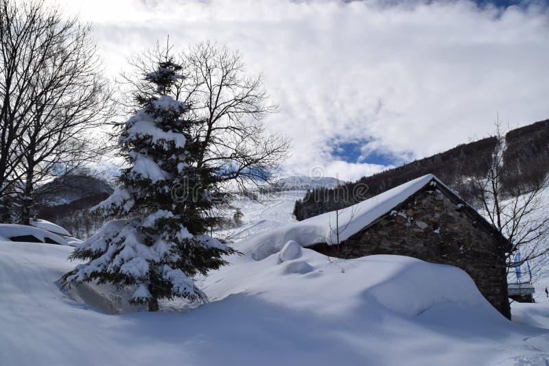 Casas de la montaña cubiertas con nieve foto de archivo libre de regalías