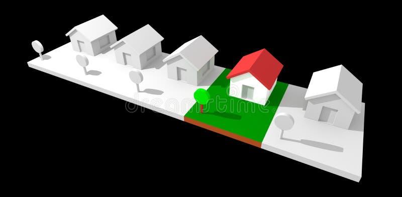 casas de la vecindad 3d. ilustración del vector