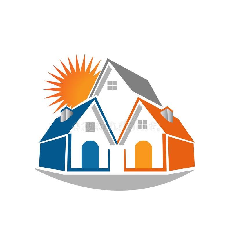 Casas de las propiedades inmobiliarias y logotipo del sol stock de ilustración