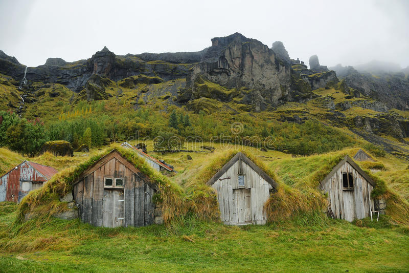 Casas de madera de Nupstadur fotos de archivo libres de regalías