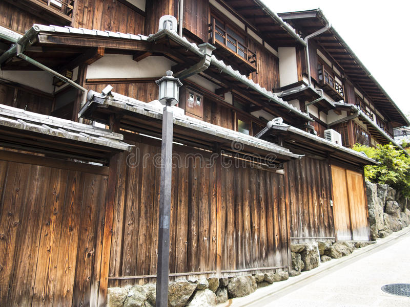 Casas de madera en Gion viejo foto de archivo libre de regalías