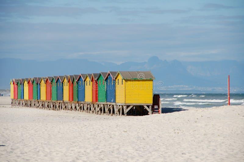 Casas de praia capetown África do Sul fotografia de stock royalty free