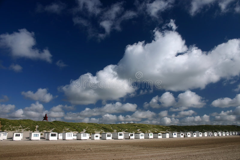 Casas de praia de Loekken fotos de stock