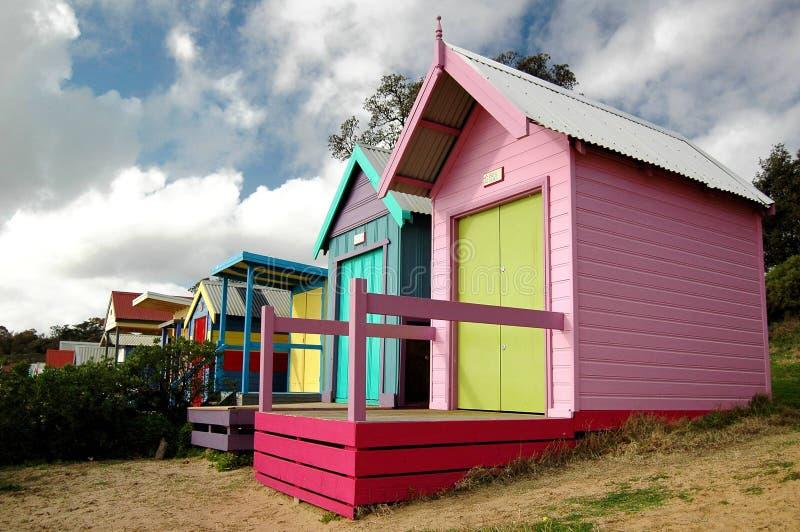 Casas de praia pequenas imagens de stock