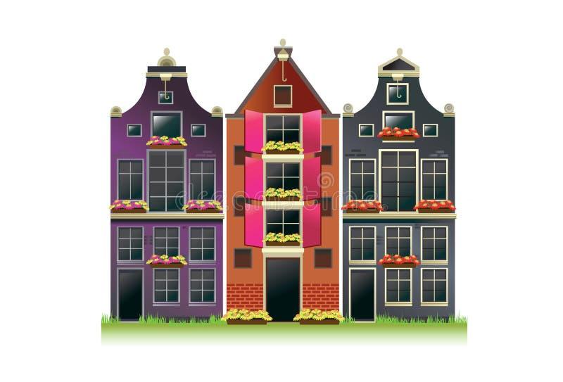 Casas del canal de Amsterdam stock de ilustración