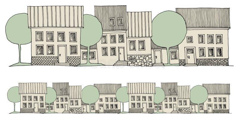 Casas del dibujo de la mano de la historieta stock de ilustración